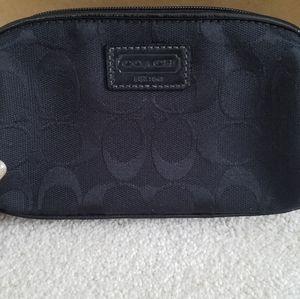 NWT Coach Black Monogram Zip Cosmetic Bag/Pouch